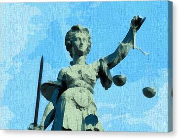 Lady Justice Pop Art Canvas Print by Dan Sproul