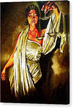 Lady Justice Sepia Canvas Print by Laura Pierre-Louis