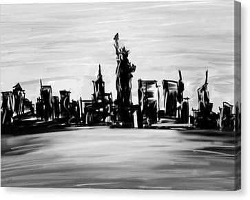 Lady Of New York- Black And White Canvas Print by Lourry Legarde