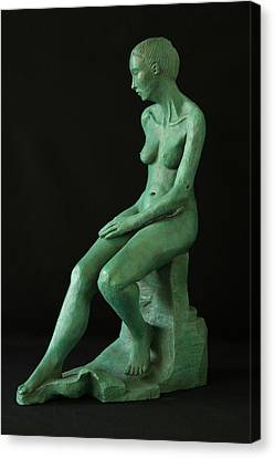 Lady On The Rock Canvas Print by Flow Fitzgerald