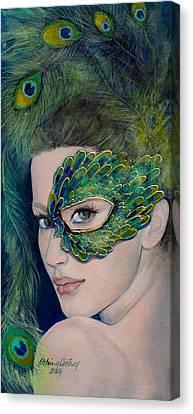 Lady Peacock Canvas Print by Dorina  Costras