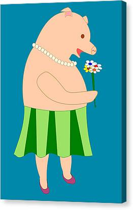 Lady Pig Smelling Flower Canvas Print by John Orsbun