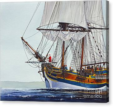 Lady Washington And Captain Gray Canvas Print by James Williamson