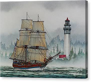 Lady Washington At Grays Harbor Canvas Print by James Williamson