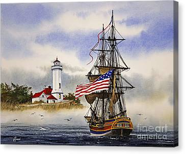 Lady Washington At Point Wilson Lighthouse Canvas Print by James Williamson