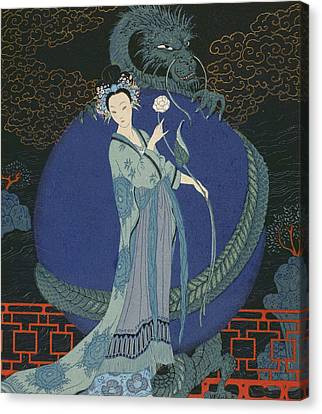 Lady With A Dragon Canvas Print by Georges Barbier