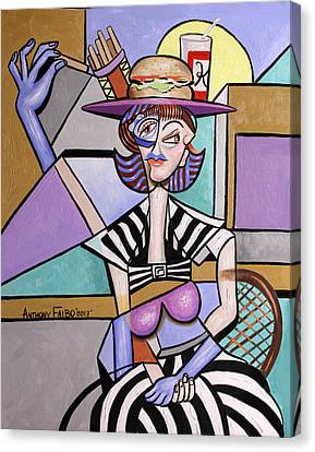 Lady With A Lunch Hat Canvas Print by Anthony Falbo