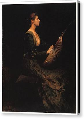 Lady With A Lute Canvas Print by Thomas Wilmer Dewing