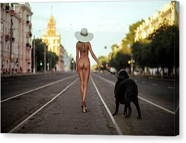 Lady With Her Dog Canvas Print by Gene Oryx