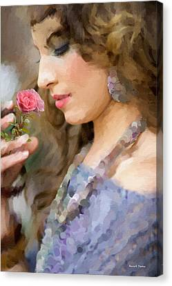 Lady With Pink Rose Canvas Print by Angela A Stanton