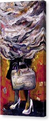 Lady With Suitcase And Storm Cloud Canvas Print by Tilly Strauss