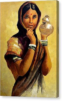 Lady With The Pot Canvas Print by Farah Faizal