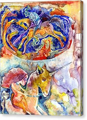 Lady With The Unicorn Canvas Print by Milen Litchkov