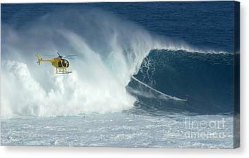 Laird Hamilton Going Left At Jaws Canvas Print by Bob Christopher