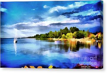Lake Balaton At Summer Canvas Print by Odon Czintos