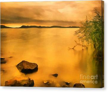Lake Balaton Sunset Paint Canvas Print by Odon Czintos
