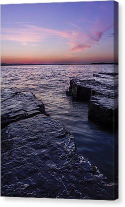Lake Champlain Vermont Shoreline Sunset And Clouds Canvas Print by Andy Gimino