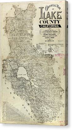 Lake County California Map Canvas Print by Jon Neidert