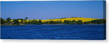 Lake In Front Of A Rape Field Canvas Print by Panoramic Images