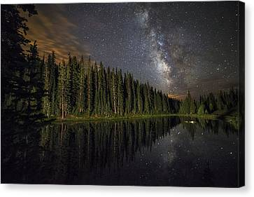 Lake Irene's Milky Way Mirror Canvas Print by Mike Berenson