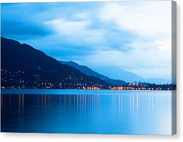 Lake Maggiore Before Sunrise Canvas Print by Susan  Schmitz