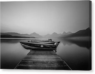 Black And White // Lake Mcdonald, Glacier National Park Canvas Print by Nicholas Parker