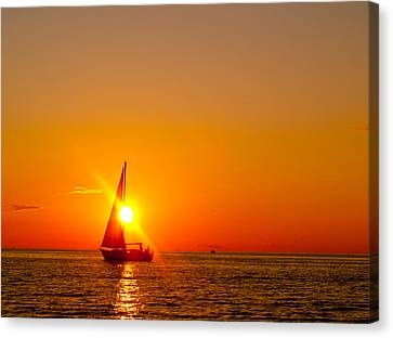 Lake Michigan Sunset Canvas Print by Bill Gallagher