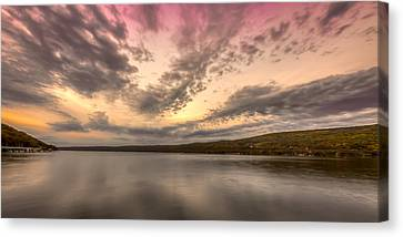 Lake Sunset Canvas Print by Gary Fossaceca