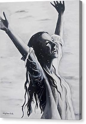 Lake Swan Splash Canvas Print by Judy Swerlick