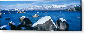 Lake Tahoe In Winter, California Canvas Print by Panoramic Images
