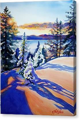 Lake Tahoe Winter Glow Sold  Canvas Print by Therese Fowler-Bailey