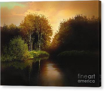 Lake Trees Canvas Print by Robert Foster