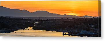 Lake Union Cascades Mountains Sunset Glow Canvas Print by Mike Reid