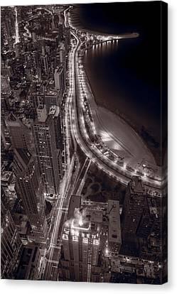 Lakeshore Drive Aloft Bw Warm Canvas Print by Steve Gadomski