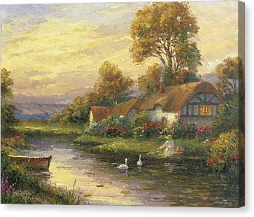 Lakeside Cottage Canvas Print by Ghambaro