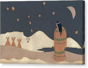 Lakota Woman With Winter Constellations Canvas Print by Dawn Senior-Trask