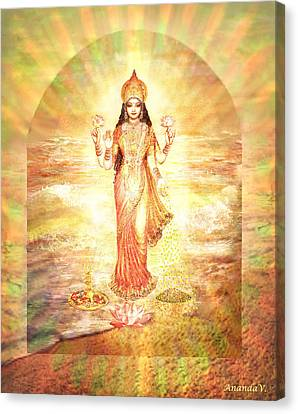 Lakshmis Birth From The Milk Ocean Canvas Print by Ananda Vdovic