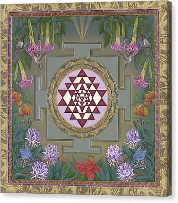 Lalita's Garden Sri Yantra Canvas Print by Nadean OBrien