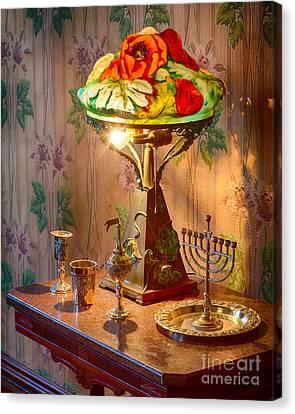 Lamp And Menorah Canvas Print by Inge Johnsson
