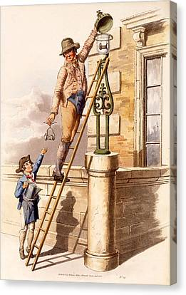 Lamp Lighter, From The Costumes Canvas Print by William Henry Pyne