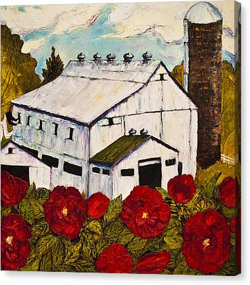Lancaster Red Rose And Barn Canvas Print by Paris Wyatt Llanso