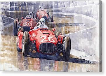 Lancia D50 Monaco Gp 1955 Canvas Print by Yuriy  Shevchuk