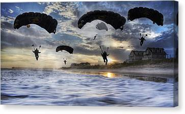 Landing At Sunset Canvas Print by Betsy Knapp