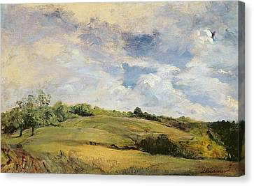 Landscape And Clouds  Canvas Print by Louis Antoine Leon Riesener
