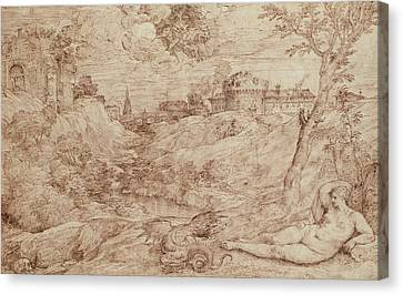 Landscape With A Dragon And A Nude Woman Sleeping Canvas Print by Titian