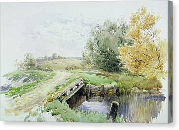 Landscape With Bridge Over A Stream Canvas Print by John Clayton Adams