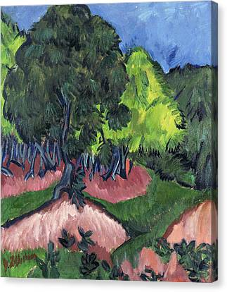 Landscape With Chestnut Tree Canvas Print by Ernst Ludwig Kirchner
