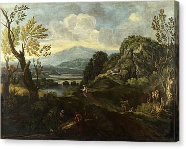 Landscape With Figures Canvas Print by Crescenzio Onofri