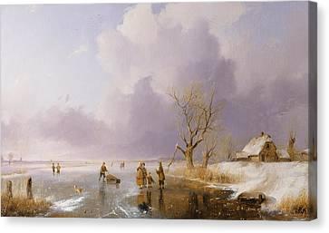 Landscape With Frozen Canal Canvas Print by Remigius van Haanen