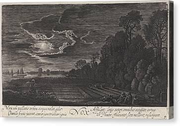 Landscape With Resting Bird Catchers Night Canvas Print by Jan Van De Velde (ii)